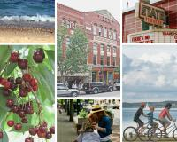 A collage of six images of Traverse City.  Top row includes a picture of a rocky beach with a wave rolling in, the Traverse City Opera House exterior in downtown Traverse City, and the marquee sign of the State Theatre in downtown Traverse City.  The bottom row includes red cherries on a tree, a white woman in a straw hat and her daughter sitting on a bench in downtown Traverse City and a white man, white woman, and white child biking on the TART trail along Grand Traverse Bay with sailboats in the backgrou