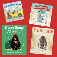Various book covers spread out over a bright red background, featuring illustrations of a school bus, a dinosaur, a bear holding a fishing pole, and more!
