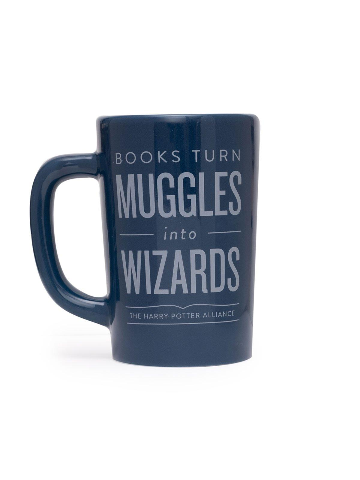 """A blue ceramic mug with lighter blue text reading """"Books Turn Muggles Into Wizards: The Harry Potter Alliance"""""""