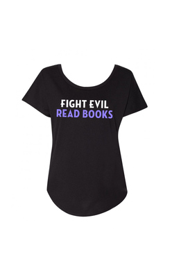 """A black scoop-neck t-shirt with the words """"Fight Evil, Read Books"""" in white and purple text"""